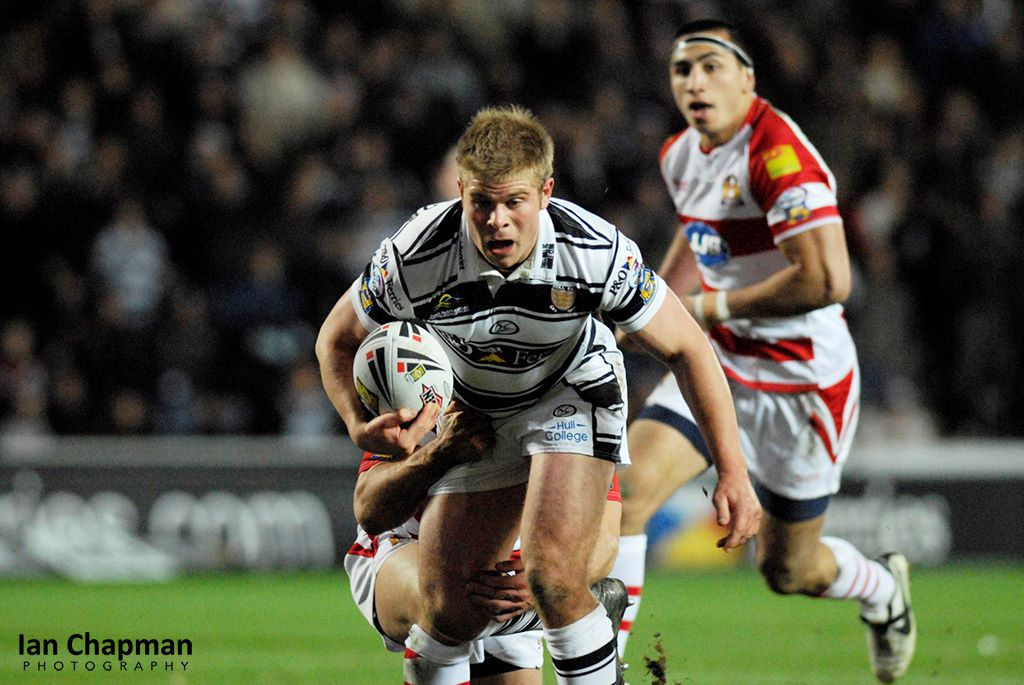 Hull FC go for a try against Wigan at the KC Stadium, Hull