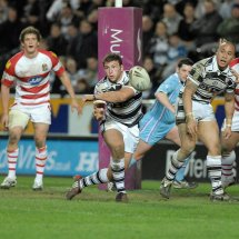 Hull FC go for another try against Wigan at the KC Stadium, Hull