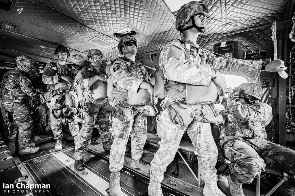 Jumpers prepare to jump from a Chinook helicopter, Georgia, USA