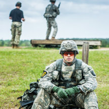 A US Army Ranger waits his turn on the rifle range, Fort Benning, Georgia, USA