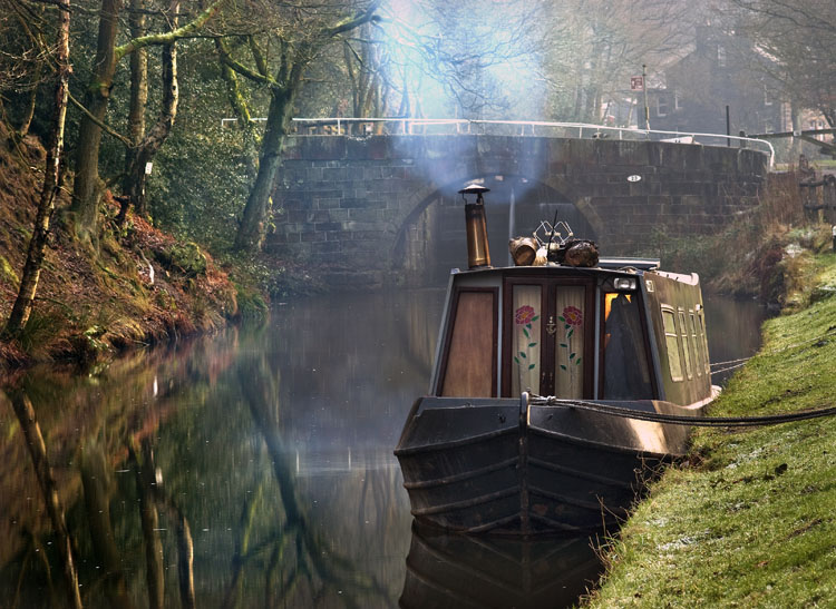 Barge on the Rochdale Canal