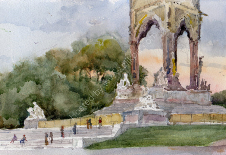 "Late Sun, Albert Memorial - <B><FONT color =""red"">sold</FONT></B>"