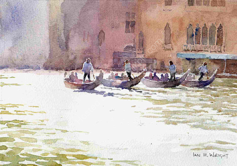 """Gondolas on the Grand Canal, Venice - <B><FONT color =""""red"""">sold</FONT></B>"""