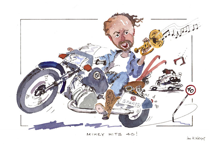 'Mikey Hits 40' - cartoon commission