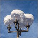 Snowcapped streetlights