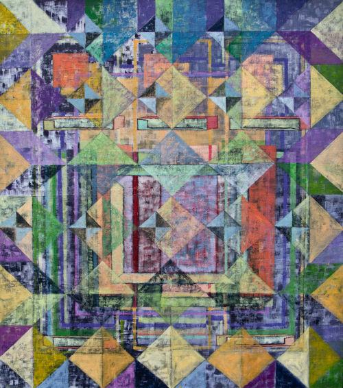 Summer Garden.<br> Acrylic on Canvas<br> 87x77cms