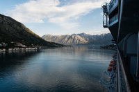 Sailing up Kotor Bay