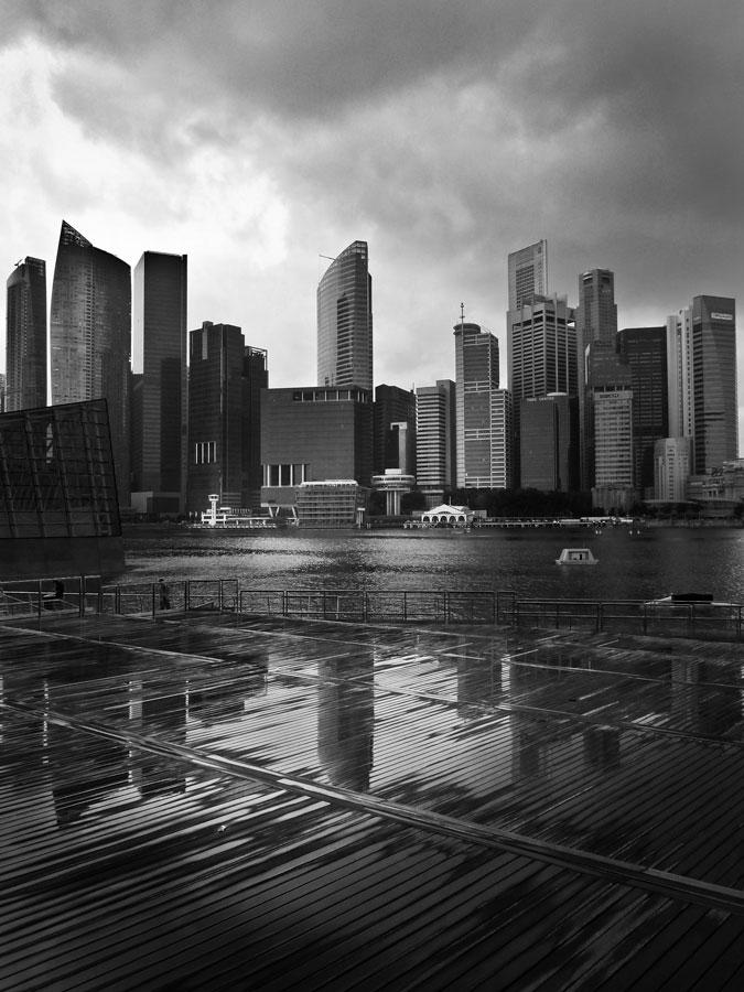 Singapore skyline reflection