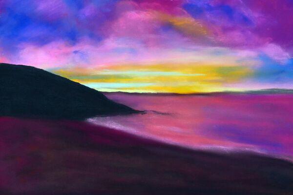 Sunset over a Cornish bay