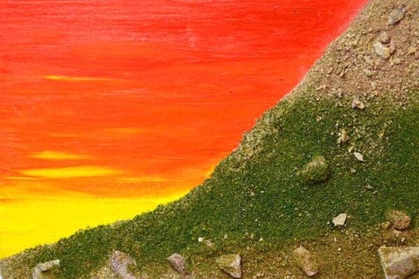 Rocky hillside at dawn