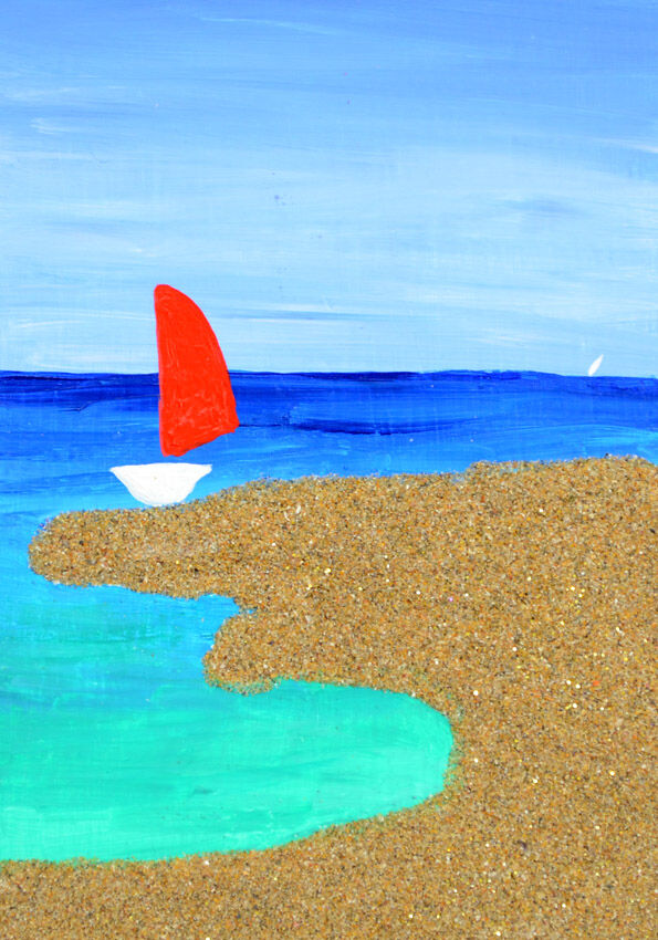 Sailboat in secluded cove