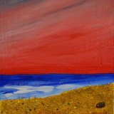 Red sunset over beach 1 - miniature
