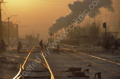 The evening sunset in Fuxin Coal Railway.