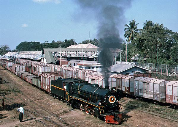 YC 627 departs from Bago with a stone train.