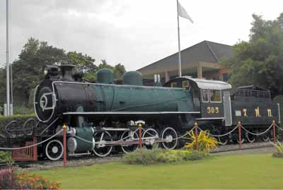 2-8-2 locomotive built by Baldwin USA in 1925 and withdrawn in 1966, now seen at Huahin railway station.