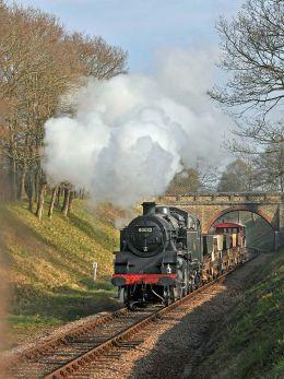 80032 on a freight train north of Haywards Heath.