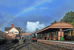 Arrival at Bewdley with rainbow
