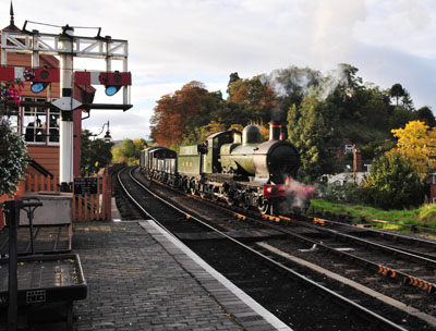 Earl of Berkley arrives at Bewdley with a freight train.