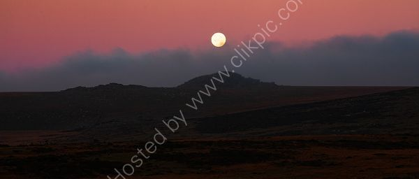 Moon Setting behind Beardown Tors