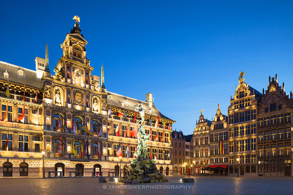 Town Hall at dusk, Antwerp, Belgium