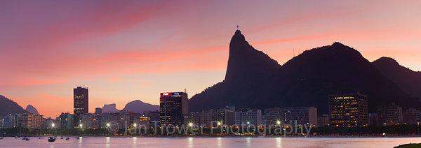 Corcovado and Christ the Redeemer at sunset, Rio de Janeiro