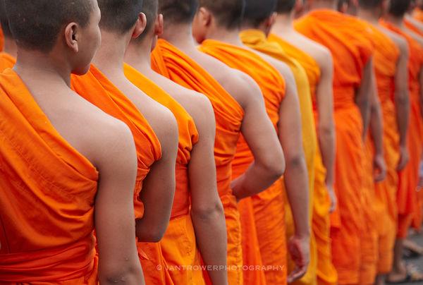 Monks in line, Phnom Penh, Cambodia