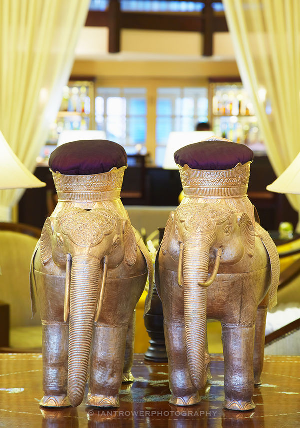 Elephant statues at Raffles Hotel Le Royal, Phnom Penh, Cambodia