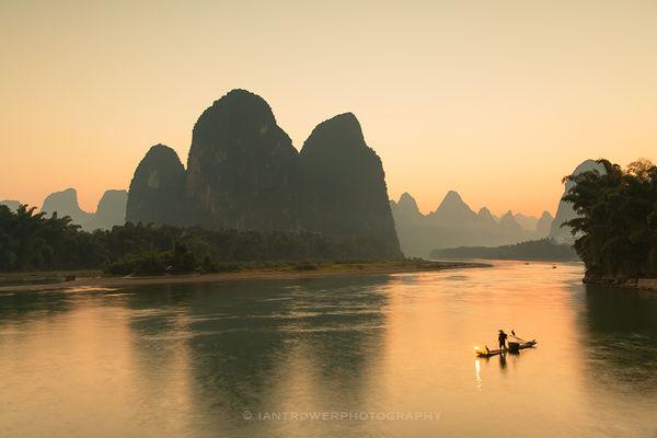 Lijiang River at sunset, Yangshuo, Guangxi, China
