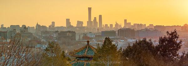 Skyline of Chaoyang at sunrise, Beijing, China