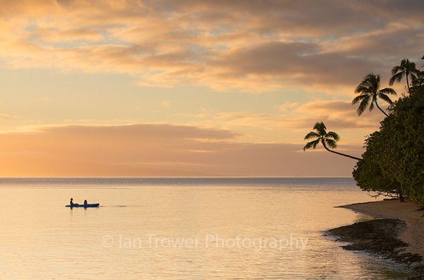 Leleuvia Island at sunset