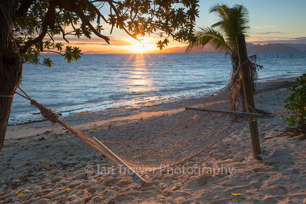 Hammock at sunrise, Bounty Island