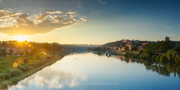 Pirna and River Elbe at sunrise, Germany