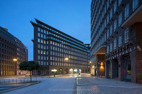 Chilehaus and Sprinkenhof at dawn, Hamburg, Germany