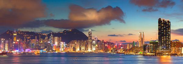 Hong Kong Island and Tsim Sha Tsui skylines at sunset, Hong Kong