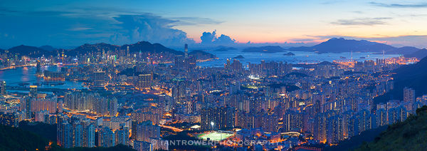 View of Kowloon from Tate's Cairn at sunset, Hong Kong
