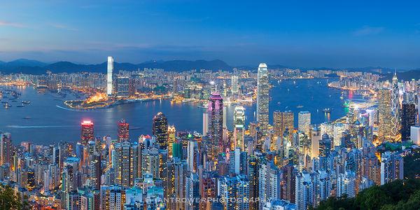 View from The Peak at dusk, Hong Kong