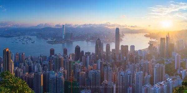 View from The Peak at sunrise, Hong Kong