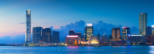 Kowloon skyline at dusk, Hong Kong