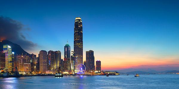 IFC and skyline at sunset, Hong Kong