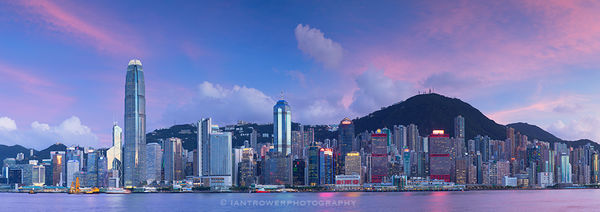 Hong Kong Island skyline at sunset