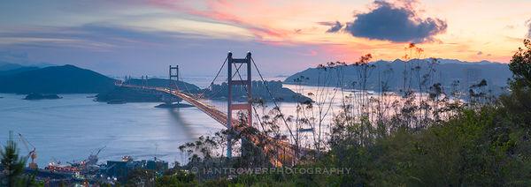 Tsing Ma bridge at sunset, Hong Kong