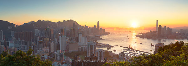 Hong Kong Island and Kowloon at sunset, Hong Kong