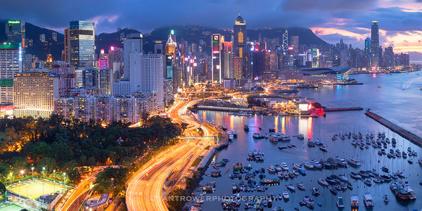 Skyline and Victoria Harbour at sunset, Hong Kong