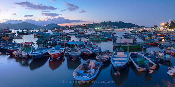 Cheung Chau harbour at sunset, Hong Kong