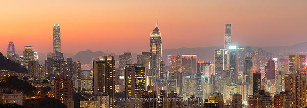 Hong Kong Island skyline from Happy Valley at sunset, Hong Kong