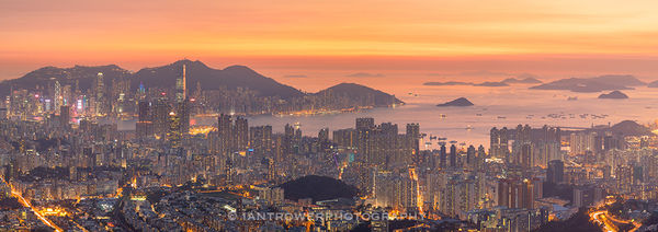 Sunset over Hong Kong Island and Kowloon