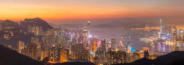 Hong Kong Island and Kowloon skyline at sunset, Hong Kong