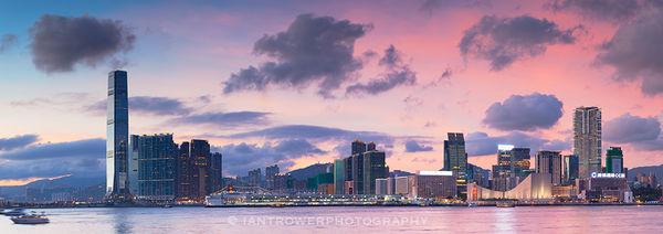 Kowloon skyline at sunset, Hong Kong