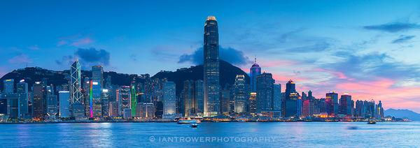 Skyline at sunset, Hong Kong