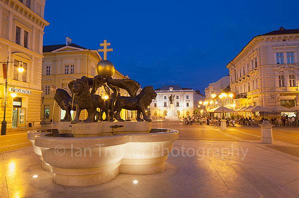 Square at dusk, Szeged